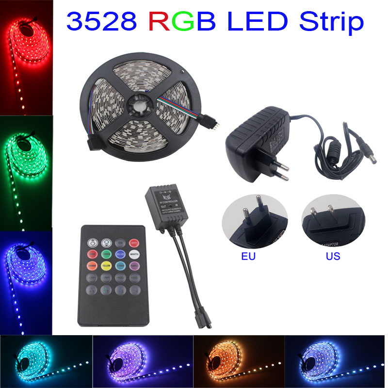 rgb LED Strip light 3528 smd DC 12V LED Light LED Tape non-waterproof 5m/roll 54leds music controller 12V 2A power supply(China (Mainland))