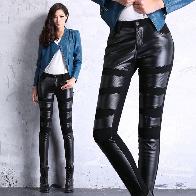 Spring autumn 2015 new arrive fashion casual trend PU leather stitching personality skinny jeans thin pencil pants plus(China (Mainland))