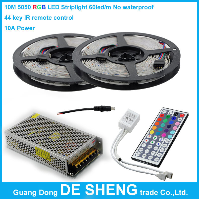 10M No waterproof SMD 5050 RGB 600led Flexible Led Strip light+44 key IR remote 1 Control for 2 pcs strips+12v 10A Power adapter(China (Mainland))
