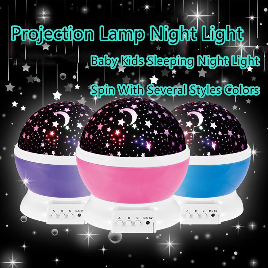 2017 Romantic Rotating Spin Night Light Projector Children Kids Baby Sleep Lighting Sky Star Master USB Lamp Led Projection(China (Mainland))