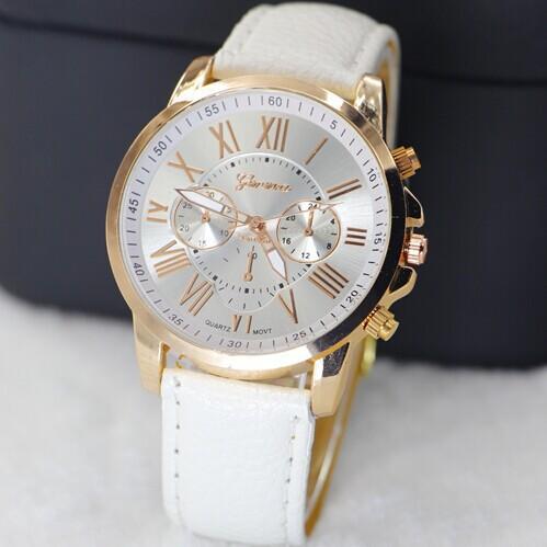 2015 Hot Sale PU Leather Quartz Casual Dress Watches Luxury Golden Geneva Women s Watch Cheapest