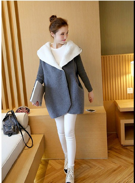 Euro 2016 autumn winter women sweater vintage fashion spliced button woolen thicken hooded sexy loose knitred ladies trench H93
