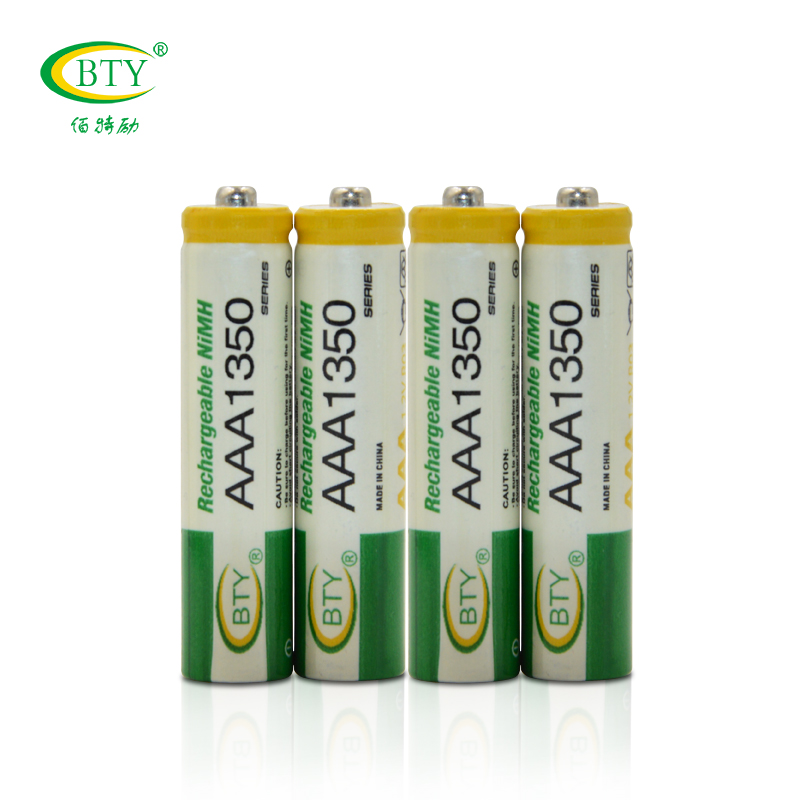 2016 Hot 1.2V AAA Rechargeable Battery 1350mAh Baterias 4 X BTY NI-MH Rechargeable 3A Battery Bateria MicroData Newest(China (Mainland))