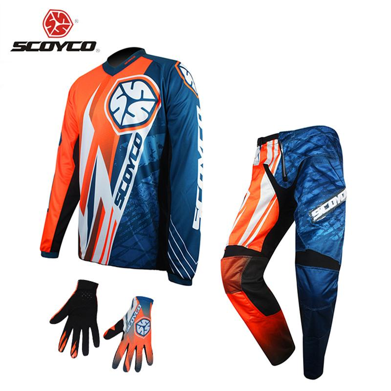 SCOYCO Motor Racing Sets Long Sleeves Jersey & Hip Pads Pants & Full Finger Gloves Motocross Off-Road  MTB DH Riding Clothing
