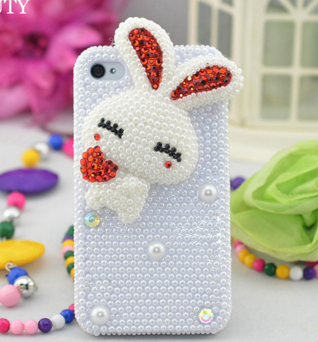 1pcs free shipping 3D Handmade Rabbit Pearl hello kitty cute Diamond Bling Case For iPhone 4 4G 4S 5s 5 5g(China (Mainland))