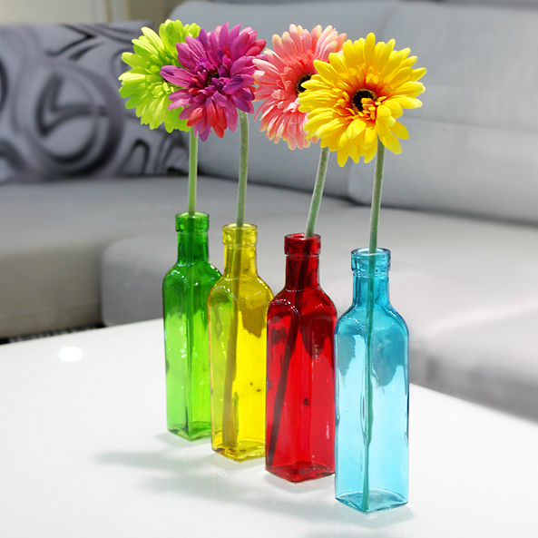 Buy european 4 color glass bottle flower for Small colored glass jars