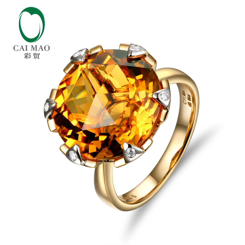 New Arrival 14K Yellow Gold 11.3CT Flawless 15mm Round  Citrine Pave Diamond Engagement Ring Free shipping<br><br>Aliexpress