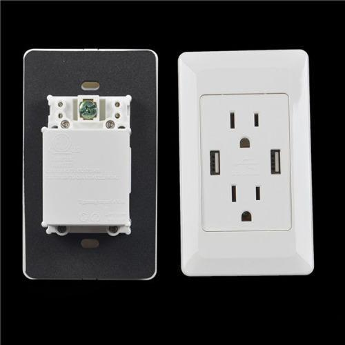 Free Shipping International AC Power Adapter Receptacle With 2 Port USB Wall Charger Outlet Plate(China (Mainland))
