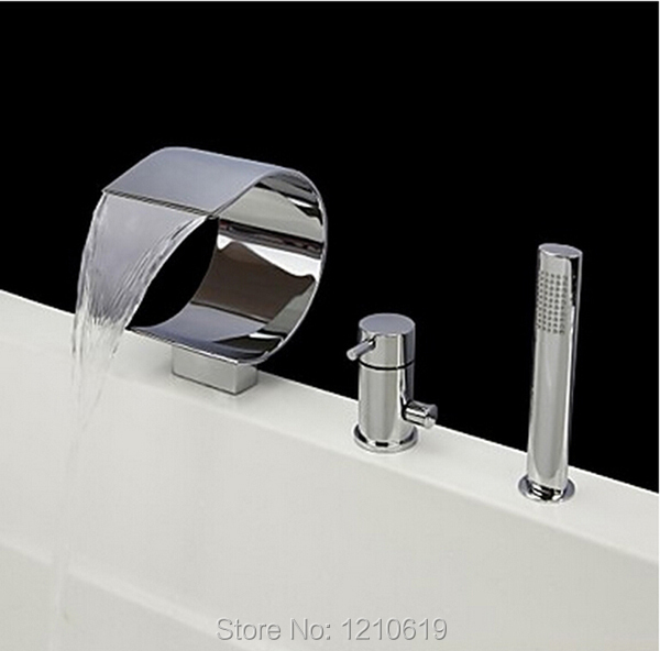 Newly Waterfall 3Pcs Tub Faucet Set Chrome Finish Bathtub Faucet with ...