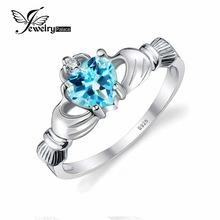 JewelryPalace Сердце 0.6ct Ирландский Claddagh Натуральный Голубой Topazs Камень Promise Ring Настоящее Стерлингового Серебра 925 Ювелирных Изделий Хороший Подарок(China (Mainland))