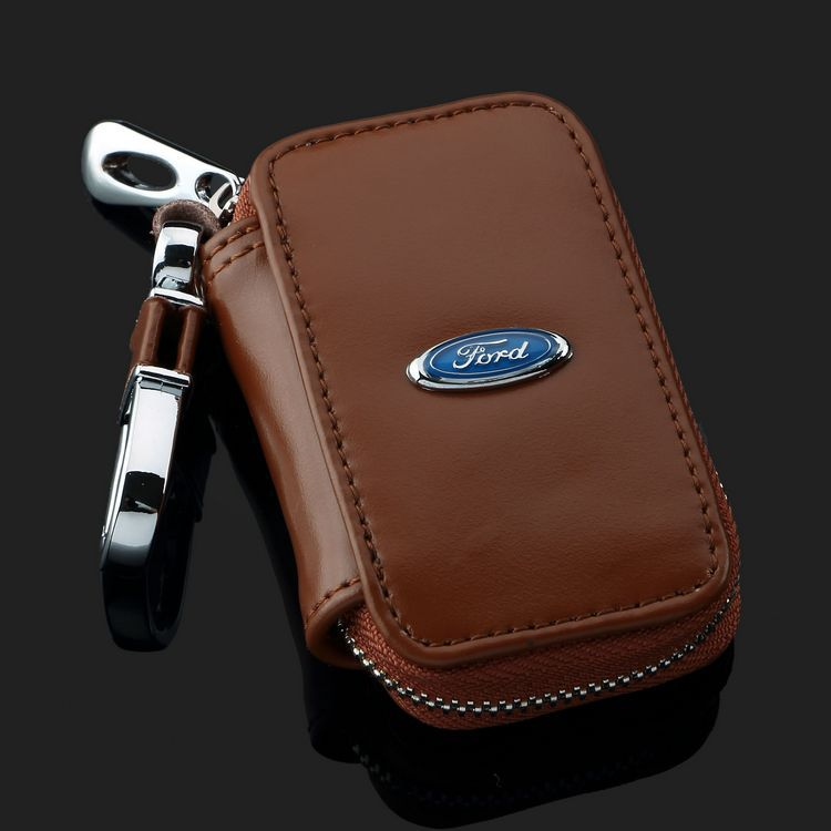 Square Brown Carve patterns Leather key case For Ford iosisX Kuga E350 KugaSUV E350 F-150 Thunderbird Mustang Taurus Sable(China (Mainland))