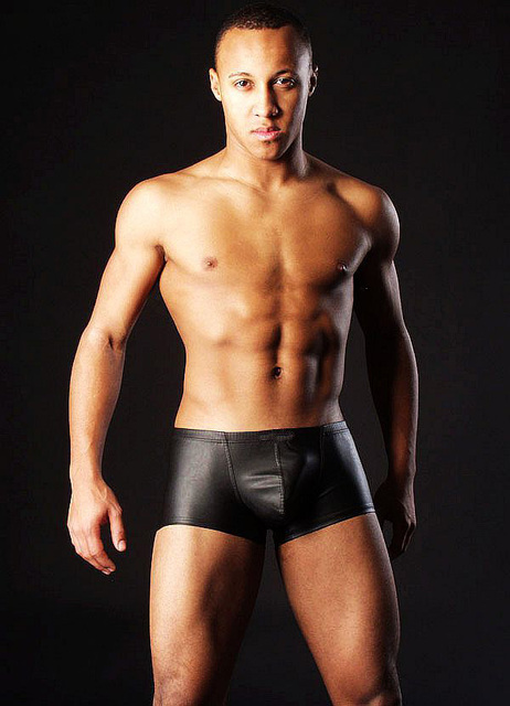Negro charol para hombre boxeadores de la ropa sexy para hombre ml XL XXL