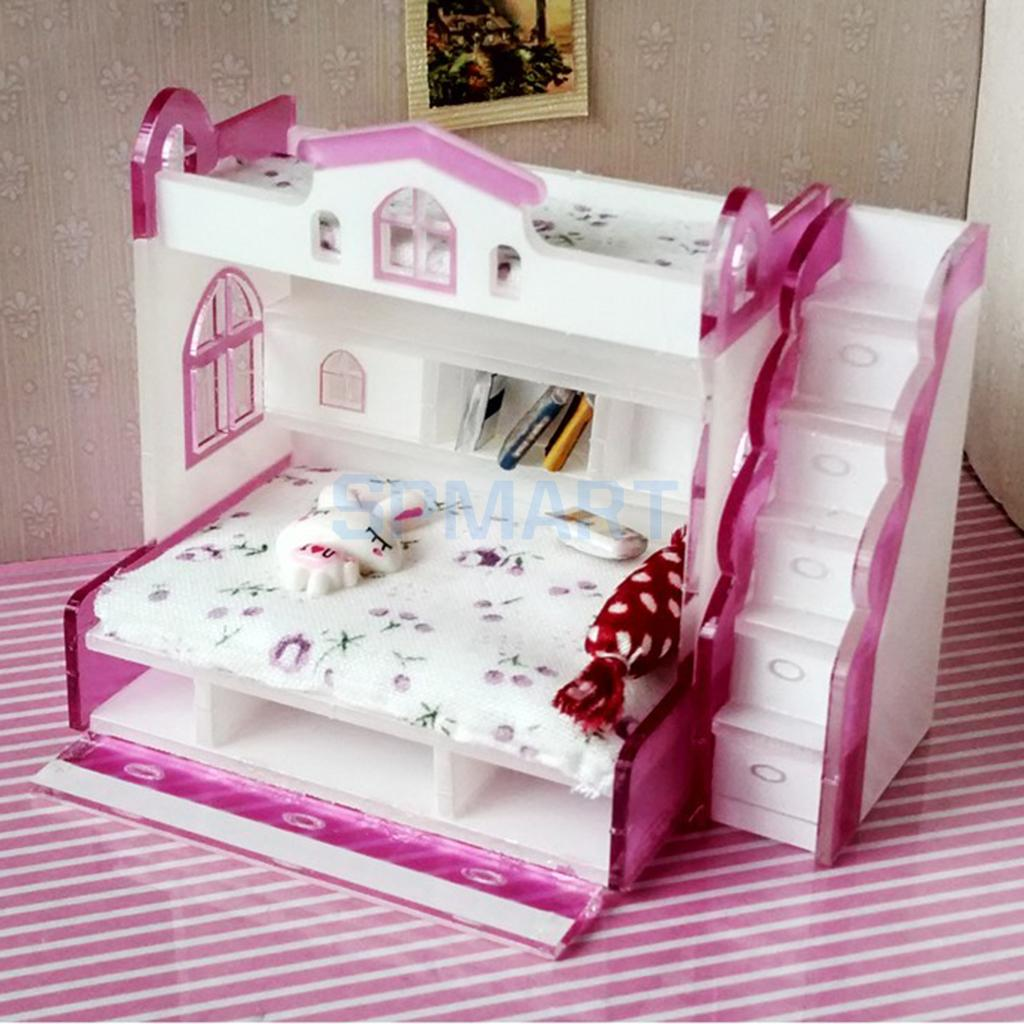 1:12 Scale Doll House Furniture Mini Bedroom Bunk Bed Toys for Dollhouse Pretend Play Kids Toy for Boys Girls