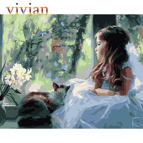 Frameless picture DIY diy digital oil painting 40X50cm paint number kits VI188 missing - Online Store 812502 store