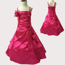 Free shipping A-line Fuchsia Girl Party Dress embroidery Beaded children's Gown for weddings dresses For Kids  4-10 Years X-1545