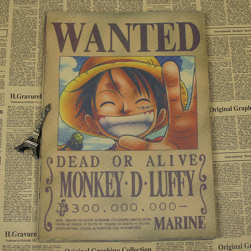 About vintage Paper anime poster The Luffy wanted One Piece Posters/kid cudi poster/Vintage Home Wall sticker Decor ID-332(China (Mainland))