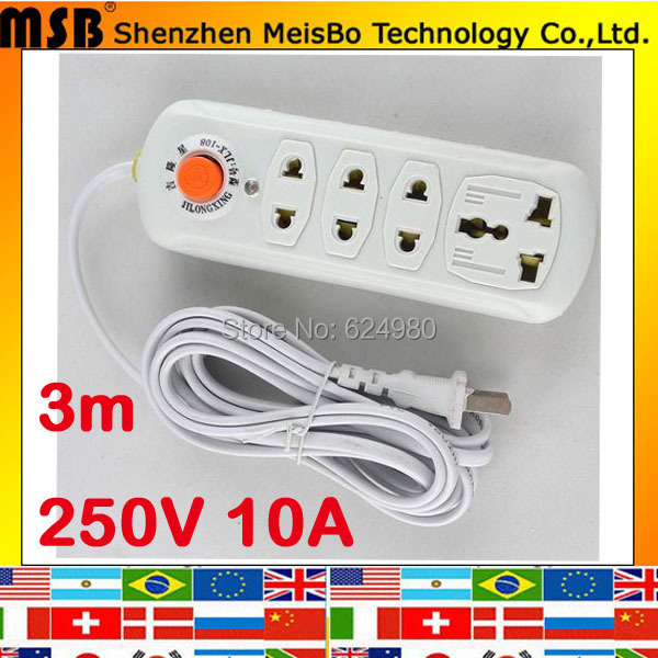 With 3m wire line board Multifunction power outlet Universal socket 250V 10A four charger ports extension drag strip(China (Mainland))