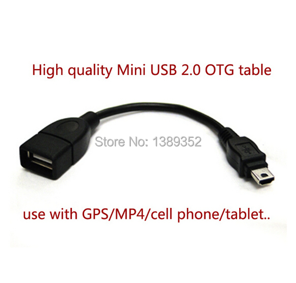 Free shipping 2.0 Mini USB OTG cable Adapter for Tablet PC/MP3/CELL PHONE/GPS(China (Mainland))