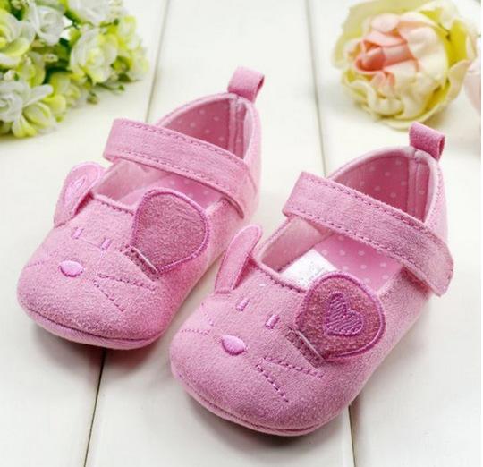 Cute Baby Girls First walkers Cotton Cartoon mickey Soft Pattern Shading Sole newborn Prewalkers Shoe - Mall-1048360 store