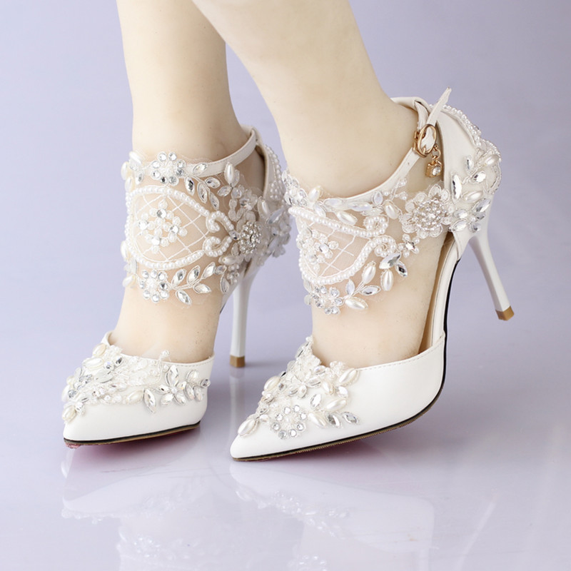 Wedding Dress Shoes: New Lace Flower Bridal Dress Shoes Pointed Toe High Heels