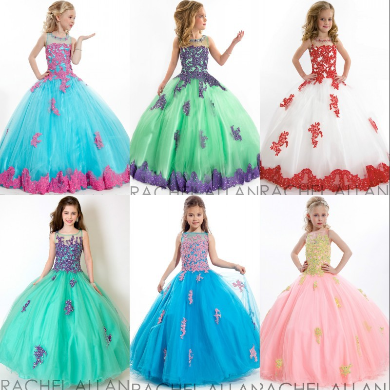 Flower Girls Dresses For Weddings Lace Beads Pageant Dress 2015 Ball Gown First Communion Dresses For Little Girls Appliques(China (Mainland))