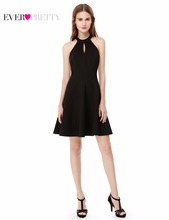 New Arrival 2017 Cocktail Dresses Cotton Empire Halter Mini Party Dresses Ever Pretty AS05587 Black Cocktail Dress(China (Mainland))