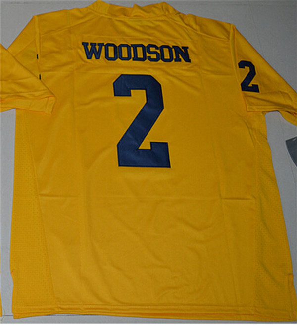 New Arrival Nike Michigan Wolverines Charles Woodson 2 College T-shirt Limited Jersey - Yellow Size S,M,L,XL,2XL,3XL Jim Harbau(China (Mainland))