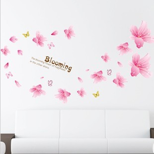 Pink lily three generations of double faced wall stickers kitchen cabinet tv sofa am(China (Mainland))