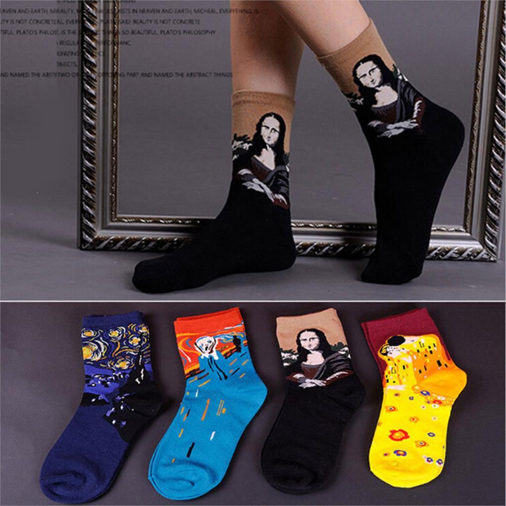 Meias femininas Masculinas Fashion Painting Art Socks Mona Lisa The Scream Starry Night Short Socks Vintage Style Calcetines(China (Mainland))