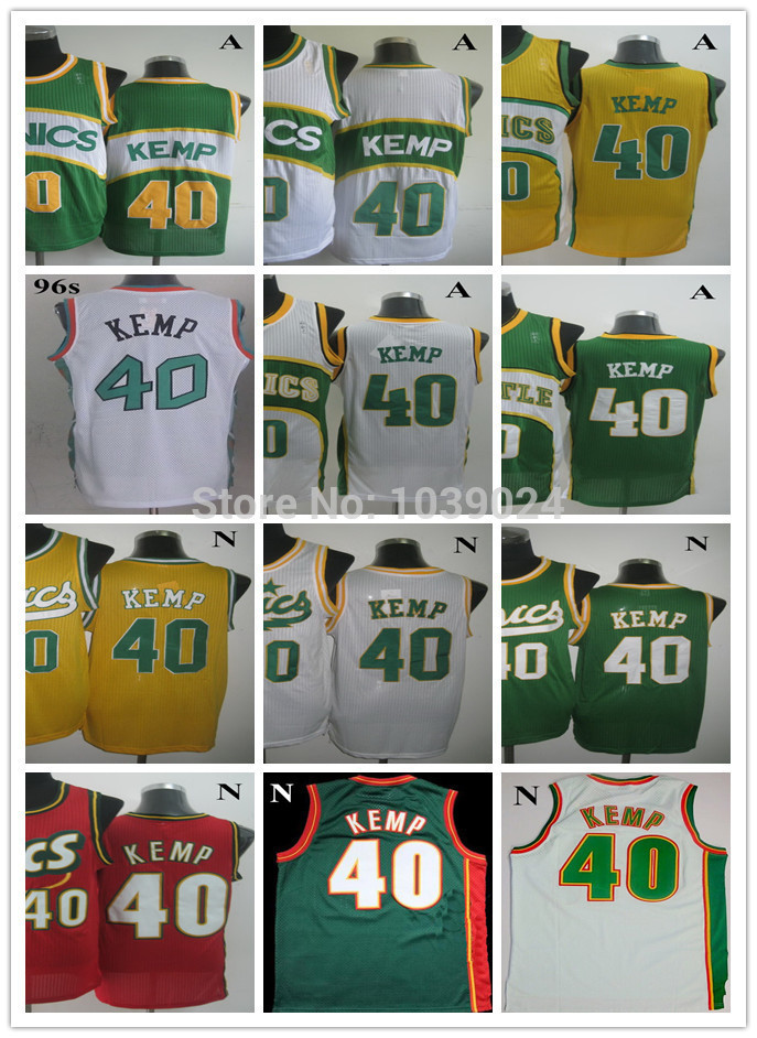 2014 NWT Super #40 Shawn Kemp Jersey Throwback White Yellow Green 1995 All Star Stitched Best American Basketball Jersey Shop(China (Mainland))