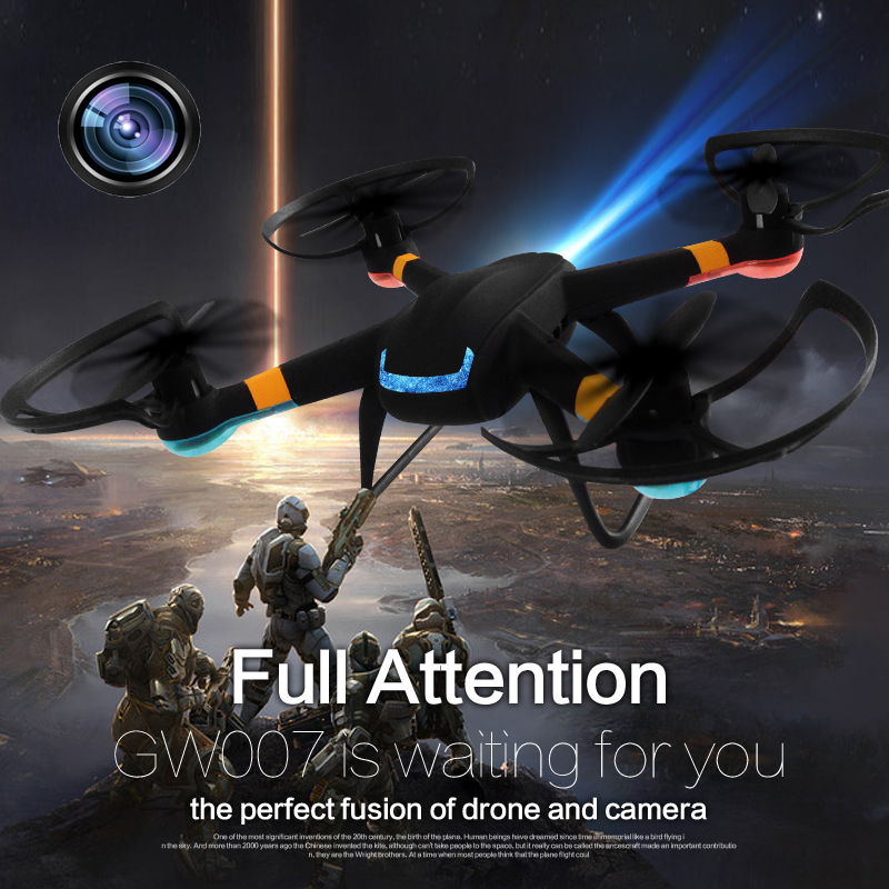 Upgrade 2.4GHZ GW007-1 RC Helicopter 6 Axis 2.0M Pixel Len HD Camera Drone LED Quadcopter Remote Control One Key Return Gimbal <br><br>Aliexpress
