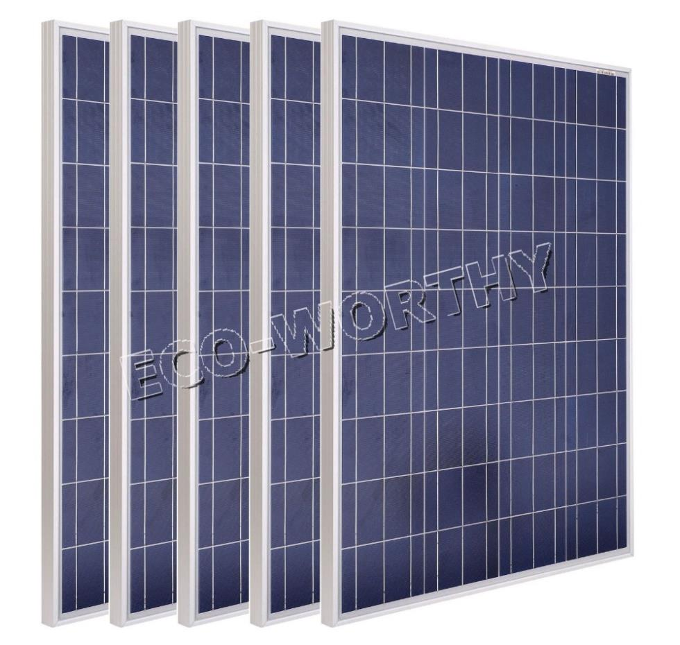 USA style 500W COMPLETE KIT: 5*100W WATT PV poly Solar cell Panel 12V on grid solar system#(China (Mainland))