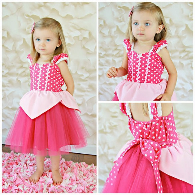 EMS DHL Free shipping little girls kids Cartoon Princess Summer Pink Polka Dot Tulle Dress Easter Dress Party Dress 100-140(China (Mainland))