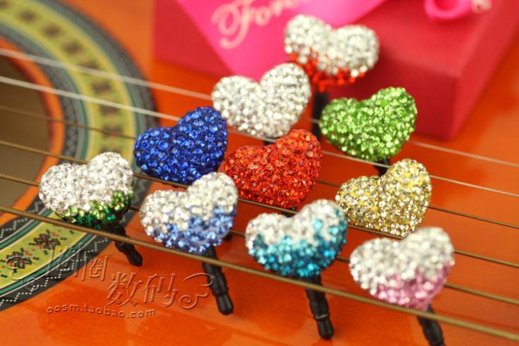Love full rhinestone diamond heart phone dust plug headset cap earphone for cell phone accessories Universal 3.5 mm jack plug