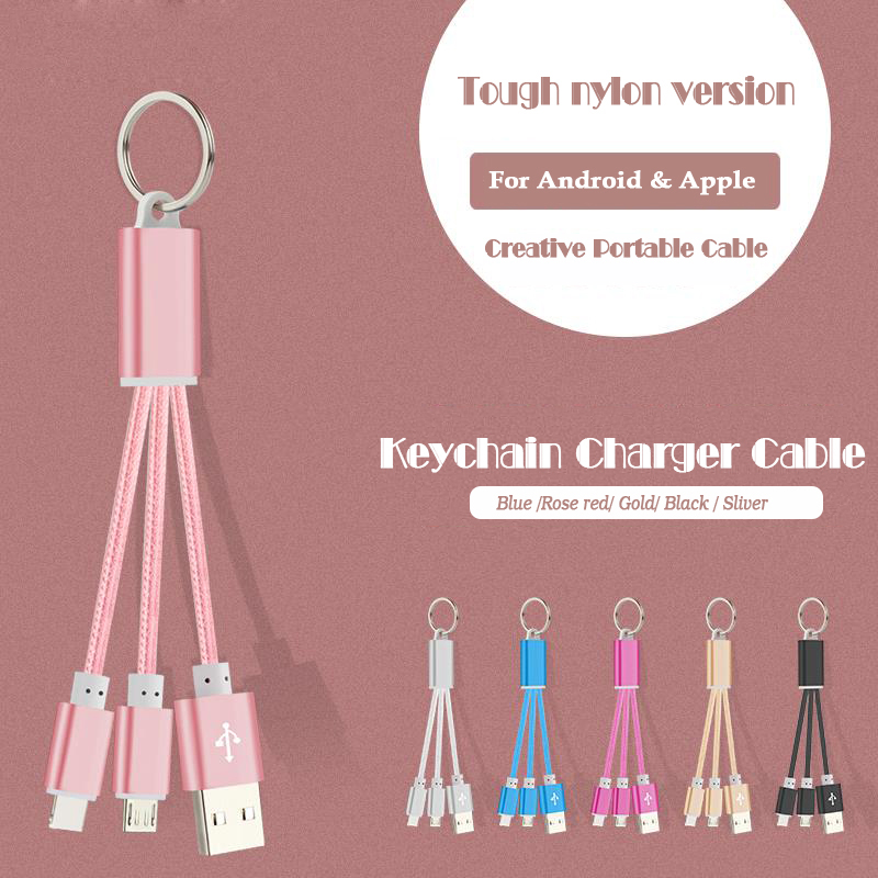 GOESTIME Universal Keychain USB Data Cable Charger USB Portable 2 in1 Charging Data Cable Micro Usb And 8pin For Iphone ipad(China (Mainland))