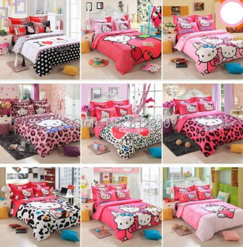 New hello Kitty children Cotton Bedding Sets 3-4pcs Bed set Cotton Duvet Cover Bed sheet Pillowcase Twin and Queen Free Shipping(China (Mainland))