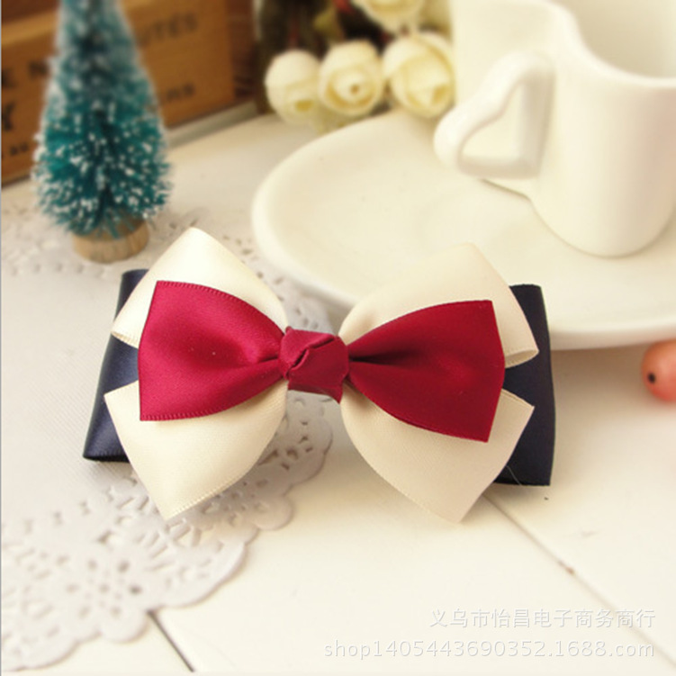 Women Girls Bow Knot Hair Clips Pins Hair Apperal Accessories British Navy Style Headwear For Girls Women 2015 Free Shipping(China (Mainland))