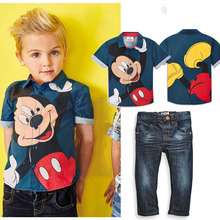 Retail 2016 New Fashion Children Clothes Children Clothing Tracksuit Micket Mouse t-shirt + jeans Kids Costume Boys Clothing set