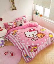 Hot sale!Suppe Warm hello kitty girls Queen bedding set Twin fleece queen size oil paintings Pink duvet cover sets(China (Mainland))
