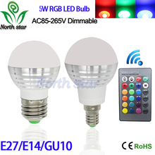 Lowest price E27 E14 GU10 LED RGB Bulb lamp AC110V 220V 5W LED RGB Spotlight RGB lighting+IR Remote Control 16 colors(China (Mainland))
