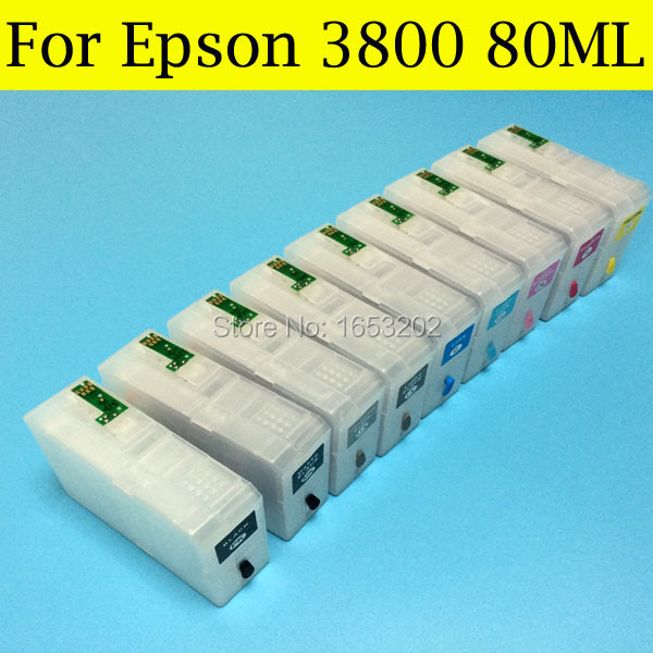 Best Ink cartridges T5801-T5809 580 For Epson Stylus pro 3800 cartridge pro 3800C printer with come with Chip sensor<br><br>Aliexpress