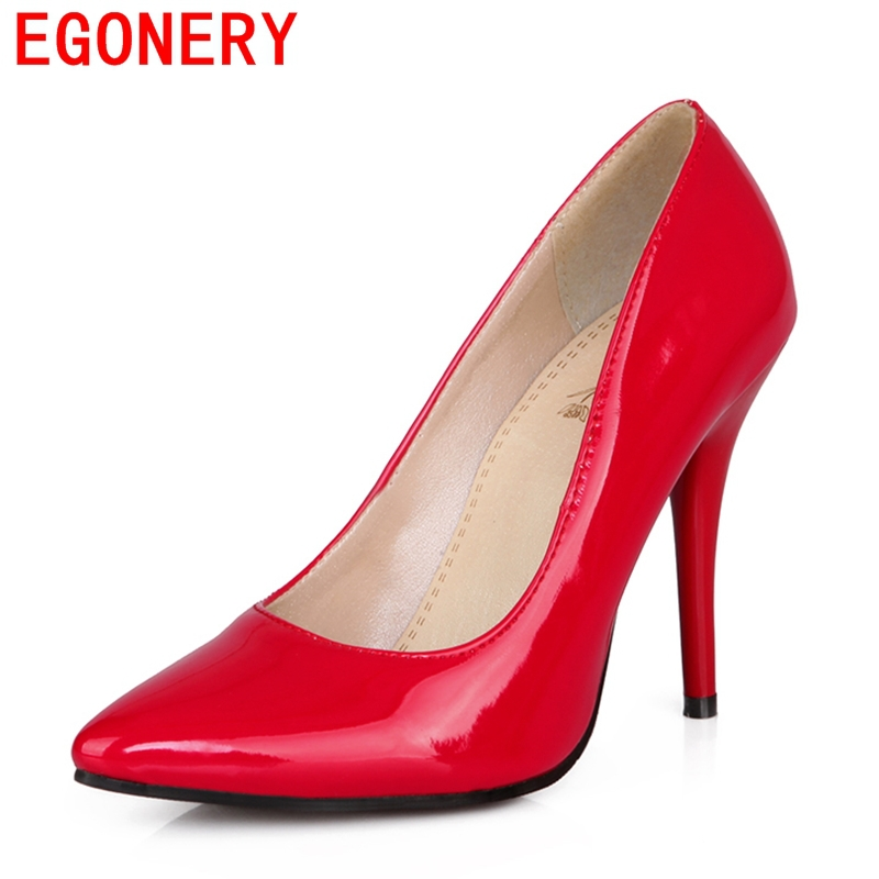 EGONERY shoes 2017 spring summer womens patent leather high heels platform nude pumps fashion black red woman ladies - egonery Official Store store