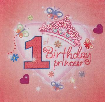 20PCS 1st Birthday First Anniversary Gift Baby Girls Princess Theme Paper Napkins Birthday Party Decoration Napkins(China (Mainland))