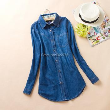 Дамы джинсовая рубашка женская с длинным рукавом темно-синий джинсы рубашка женская Blusas 2015 мода лето Camisa Femininas Большой размер блузки