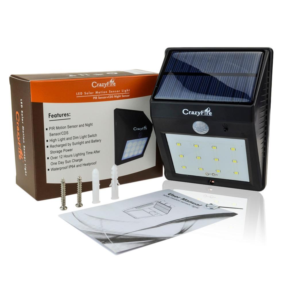 super bright 12 leds solar power motion sensor garden light ip65. Black Bedroom Furniture Sets. Home Design Ideas