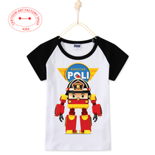 2016 New Arrival Summer Casual Children Clothes Robocar Poli Roy Kids T-Shirts Cotton T Shirt  Baby Boys Tops Tees Free Shipping