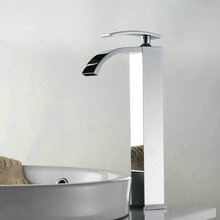 Great Quality baño Tall lavabo grifo cromado pulido grifo del fregadero cascada FF-A40(China (Mainland))