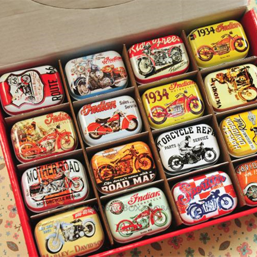 Wholesale Cheap Square Motorcycle Tin Box Good Kitchen Accessories Food Storage Box 32Pcs Cosmetic Mac Box Best Gift For Boy(China (Mainland))