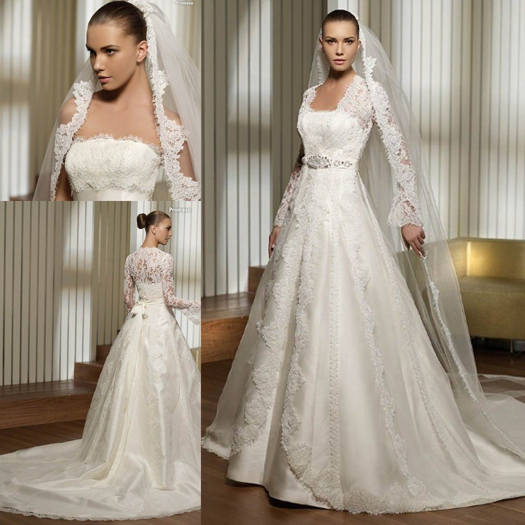 3495 lace bust and long sleeves jacket satin bridal for Silk wedding dresses with sleeves