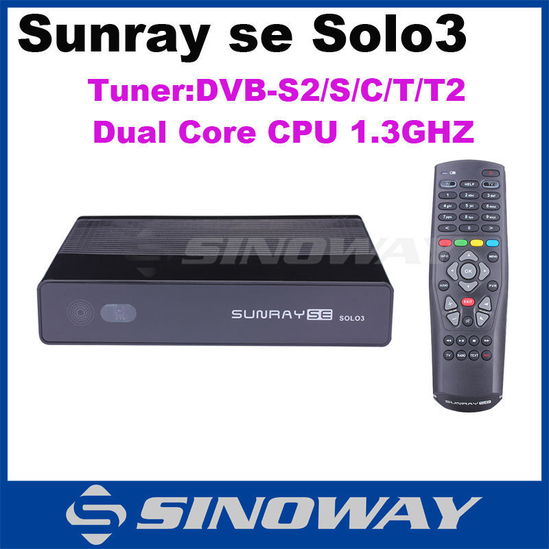 2015 New Model! Satellite TV Receiver sunray se solo3 DVB-S2/C/T/T2 tuner bigger memory of 1GB DRAM Decoder same as vu solo se(China (Mainland))